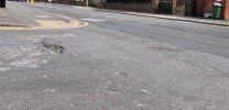 Pot hole on Laceby Street.